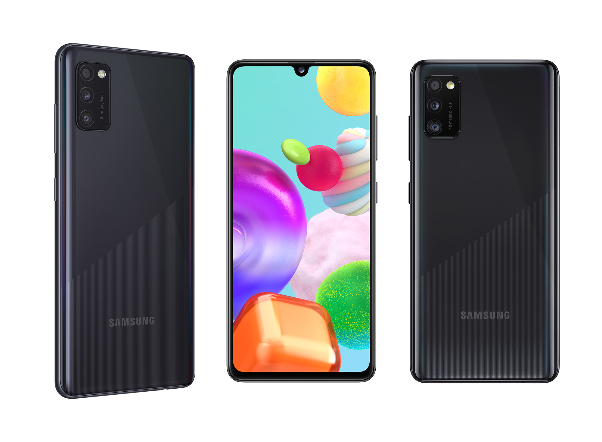 Samsung Galaxy A41, must. Telefon on saadaval ka valge, punase ja sinisena.