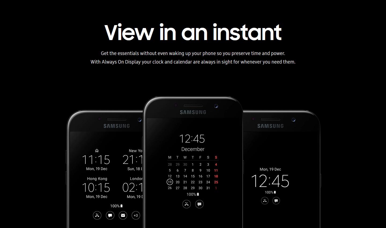 Samsung Galaxy A5 ekraanid.